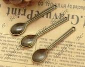 20PCS Of  11x49MM Antique Bronze Charm Pendant,metal finding,pendant beads,jewelry findings,spoon,Bracelet Connectors
