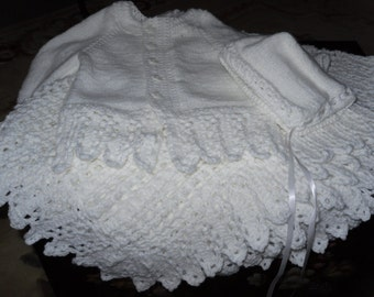 Christening Baptism Three Piece Set Shawl Blanket and Sweater and Bonnet