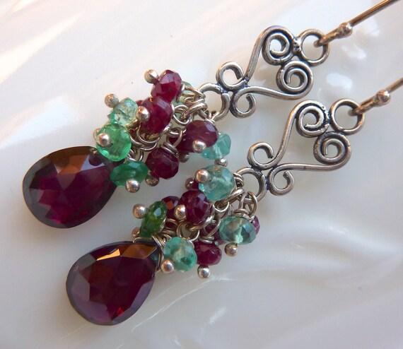 Emerald, Ruby, Apatite, Rhodolite Garnet Drop Earrings. Beadwork Chandelier. Holiday Cluster Earrings. January Birthstone.