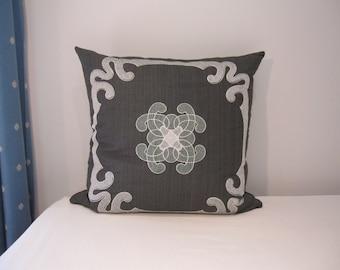 """SALE: Silk Dupioni Silver Gray Lumbar Pillow Cover 22 x 22""""-Couch Pillow Cover-Living Room Pillow cover"""