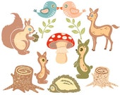 In the Woods clip art. Woodland animals clipart images. Printable forest creatures graphics. Cute digital download cliparts