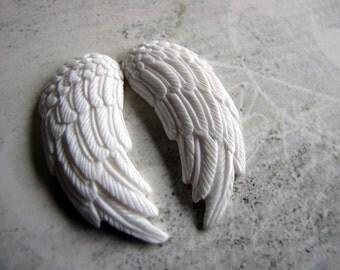Angel Wings Carved Bone Pendant Beads Pair