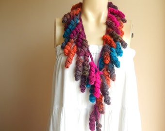 Curly Crochet  Scarf-Multicolor Lariat Scarf-Necklace Lariat Scarf