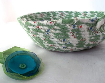 Green Candle Holder, Cute Hair Tie Holder, Storage Basket, Handmade Fabric Basket, Shabby Chic Fabric Bowl, Lovely Jewelry Holder
