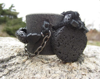 Unique Jewelry Leather Cuff Bracelet Black Lava Rock Stone Urban Warrior Wristband