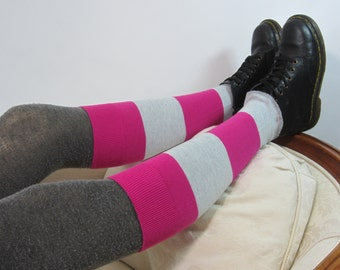 Cashmere Boot Topper Knee High Boot Socks Leg Warmers Anime Wide Striped Pink Gray Cotton Knit A997