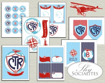 Choose the Right, LDS Baptism, Mission Calling, Travel, Airplane, Mormon printables, CTR printables, Baptism Decorations, CTR party