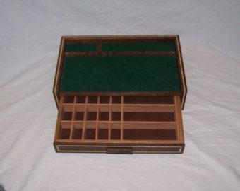Fancy Walnut Men's Jewelry Box Valet or Dresser Box