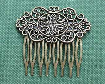 50Pcs Wholesale High Quality Antique bronze plated Brass Filigree hair comb Setting Nickel Free Lead Free (COMBSS-16)