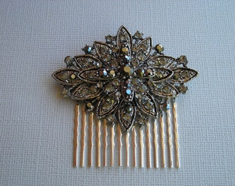 MADELYN ~ Bridal Art Deco Flower Hematite with Austrian Crystals Hair Comb