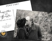 Customized PDF file: Love Calligraphy Save the Date Postcard by Luckyladypaper - DIY printing