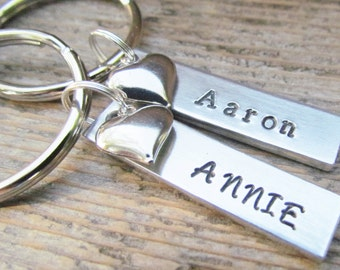 TWO Couples Key Chains SMALL Tags NAME Date Hand Stamped Aluminum Metal Keychain Key Ring Wedding Anniversary Heart Charms Boyfriend Gift
