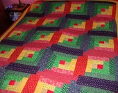 1970's Quilt Handmade Crazy Patchwork Primitive Rustic Calico Cabin Hand Quilted Stitched Vintage Bedspread