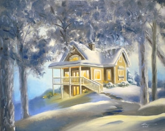 Cabin winter snow landscape 24x30 original oils on canvas painting by RUSTY RUST / M-347
