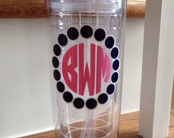 20 oz Vinyl Personalized tumbler travel insulated monogram double wall BPA free straw cup discount for orders of 4 or more