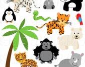 Zoo Animal Clip Art 2, Zoo Animal Clipart, Safari Jungle Animal Clipart Clip Art - Commercial and Personal Use