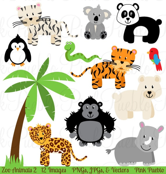 zoo animal clip art 2 zoo animal clipart safari jungle rh etsy com zoo animals clipart images free zoo animal clipart