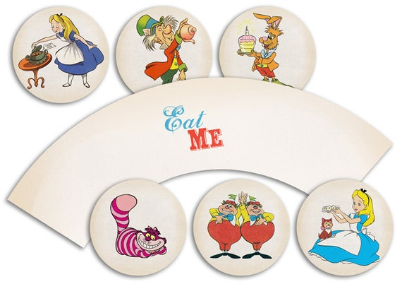 Alice in Wonderland Themed Party Circles for Cupcake Toppers/Stickers/Tags and Cupcake Wrap Template