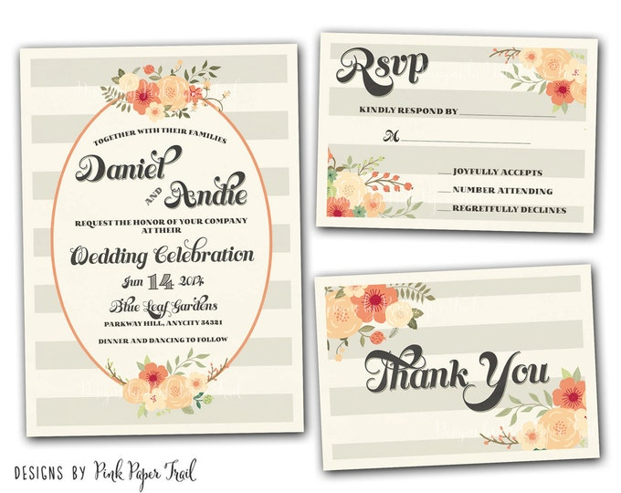 Spring Floral Wreath Invitation - Customizable Wordings - Printable - Wedding - Bridal Shower - Baby Shower - Birthdays