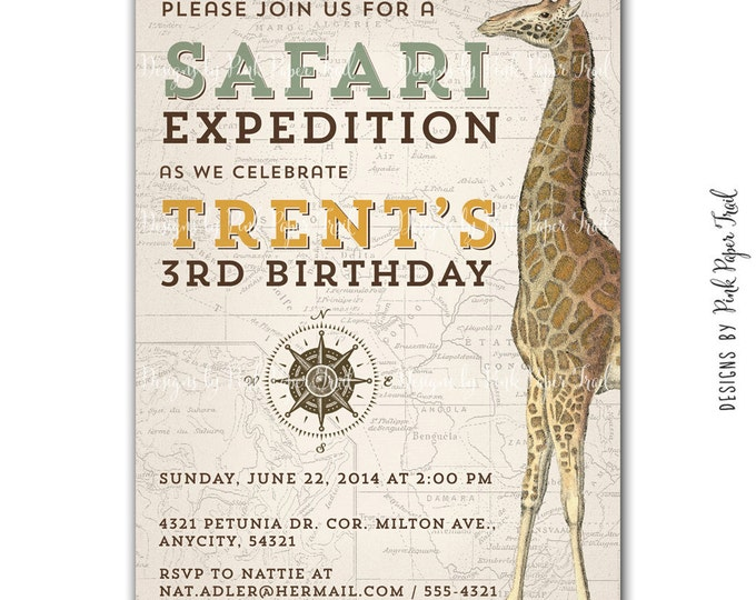 Safari Expedition Birthday Invitation, I will customize for you, Printable Digital File