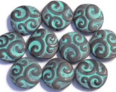 Ten 2 Hole Slider Beads 2 Hole Spacer Beads Rustic Hand Painted Aged Copper Patina Swirls Bohemian Beads Antiqued Copper Beads Boho Beads