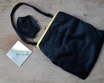 Vintage 50s Handbag 1950s Purse Black Satin Evening Bag with Attached Coin Purse Gold Kiss Lock Frame and Small Mirror Nice Condition