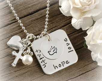 Faith Hope Love Square Hand stamped Necklace