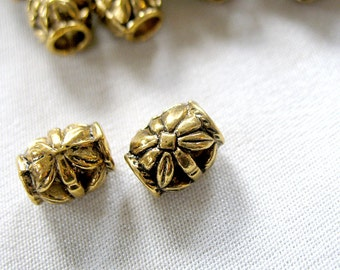 48 Antiqued Gold Alloy Metal Spacer Beads,10mm long x 8mm wide. 4mm diameter hole, 48 pieces