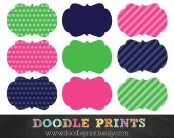 Digital Clip Art Printable - Scrapbooking Journal Tag - Frames Clipart Polka Dot and Stripes - Pink and Green Personal and Commercial Use