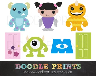 Digital Clip Art Printable - Monsters INC Design - Monsters Sully, Mike, Boo - Personal Use Only - Instant Download