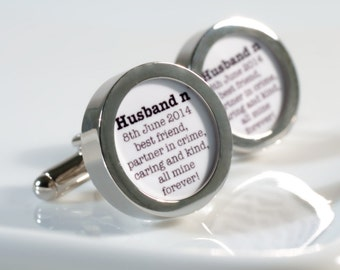 Personalized Husband Cufflinks Husband to be, Groom, Anniversary Gift, Birthday or Just Because PC636