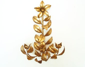 "27"" Italian Gold Gilt Wall Sconce Candelabra Mid-Century Hollywood Regency Metal Wall Art"