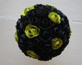 Paper Flower Bouquet, Wedding, Book Page Paper, Black, Green