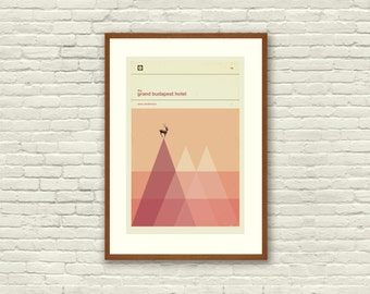 The GRAND BUDAPEST HOTEL Inspired Poster, Art Print Movie Poster - 12 x 18 Minimalist, Triangle, Hipster, Vintage, Retro Home