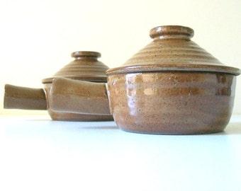 Vintage Brown Stoneware Soup Bowls