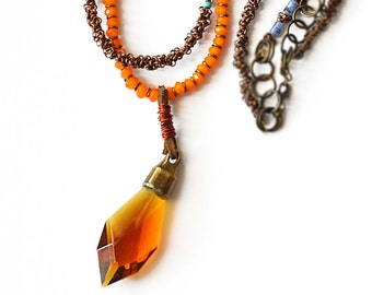 Tribal Necklace -  Gemstone Necklace - Tribal 2 Strand Necklace - Beaded Necklace - Topaz Crystal Necklace - Long Necklace