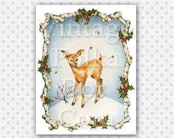 Vintage Clip Art Deer in Snow with Holly Christmas Graphics Clipart Birch Frame Printable Digital Instant Download Scrapbooking