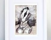Print, Art Print, Wall Decor, Wall Art, Illustration Print, Silver Grey Tempera Nude Figure Drawing, No. 16 - print 8x11.5 inch (21x29.5 cm)