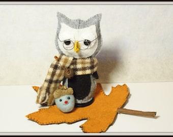PATTERN Owl Pattern Needle felted Acorn Leaf Pattern Felt Owl Wise Owl Felt Leaf