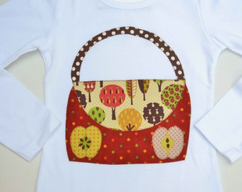 Size 6 Girls Fall Shirt Thanksgiving Long Sleeve Top Purse Applique Tshirt Fall Tee Apple Picking Ready to Ship Apples Autumn Trees