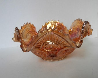 Rare Twins Marigold Hobstar and Arches Bowl Imperial Glass Circa 1910
