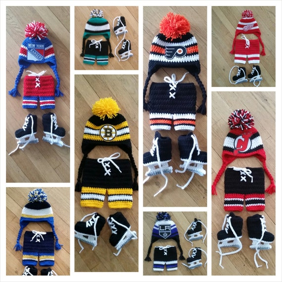Baby Hockey Set // Hat skates pants // pick your own team