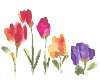 NEW!      5 Floral Watercolor Note Cards !