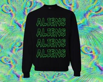 Cool Neon Green Aliens Sweatshirt All Sizes