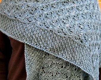 Knit Shawl Pattern:  Love the Ocean Wrap Knitting Pattern