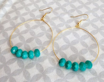 Gorgeous Teal Glass Faceted Beaded Earrings