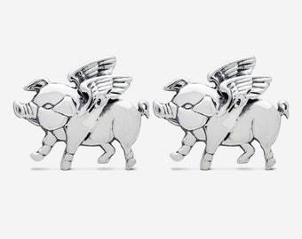 Sterling Silver Flying Pig Cufflinks