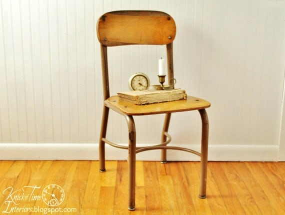 vintage school chair wood and metal frame urban industrial photo