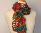A Better Rainbow! Hand Painted and Spun Yarn. Hand Knitted Airy Scarf.