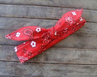 Headband Red Bandanna Girls Teen Women Hair Accessory Headscarf Hairband with or without elastic Bandana